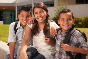 Smiling schoolchildren